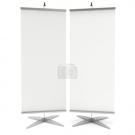Photo for Blank Roll Up Expo Banner Stand. Trade show booth white and blank. 3d render illustration isolated on white background. Template mockup for your expo design. - Royalty Free Image