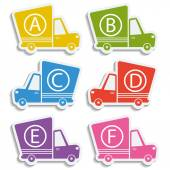 Van delivery set of car stickers with letters Free delivery fast delivery free shipping colorful logo icons set with blend shadows on white background Vector