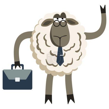 Illustration pour Agneau têtu Agneau têtu Homme d'affaires Patron. Caractère ovin. Illustration vectorielle du patron têtu de moutons isolé sur fond blanc - image libre de droit
