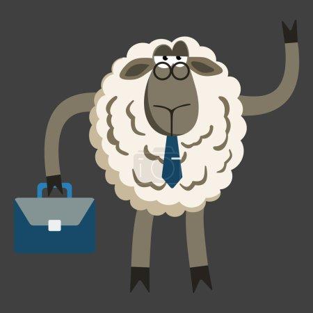 Illustration pour Agneau têtu Agneau têtu Homme d'affaires Patron. Caractère ovin. Illustration vectorielle du patron têtu de moutons isolé sur fond sombre - image libre de droit