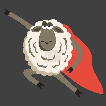Stubborn Lamb superhero with red cloak.  Sheep pro...