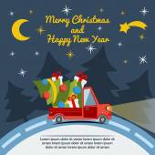 Christmas and New Year greeting card with delivery van carry a Christmas tree and gifts goes on winter road in Xmas eve Template vector concept