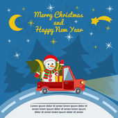 Christmas and New Year greeting card with delivery van Vector