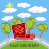 Fast delivery van truck with fire vinyl logo on the road with trees clouds and sun Vector concept