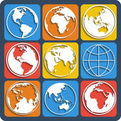 Set of earth planet globe icons Vector