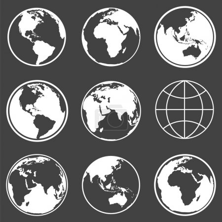 Illustration for Set of earth planet globe logo icons for web and app. Vecto travel, planet concept. - Royalty Free Image