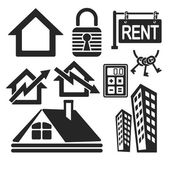 Set of interface real estate web and mobile logo icons isolated on white