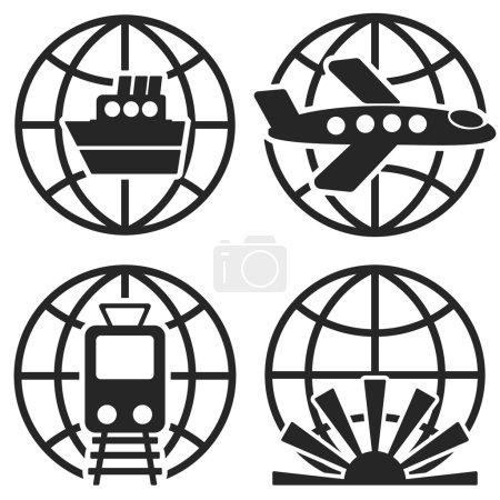 Ship Plane Train and Globe Sign. Vector.