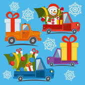 Christmas and New Year delivery vans with christmas tree gifts and snowman in santa claus hat  in Xmas eve Template vector concept with trucks and snowflakes