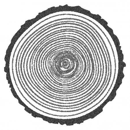 Illustration for Dotwork Halftone Tree Rings Background.Engraving Vector Illustration.  Saw Cut Tree Trunk. - Royalty Free Image