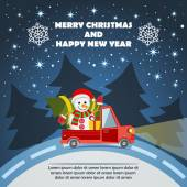 Christmas and New Year Greeting Card with Gift Delivery Van