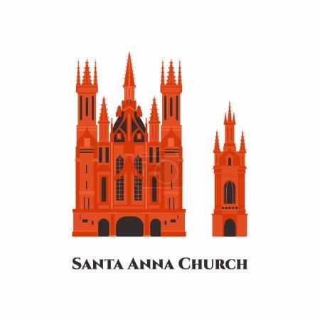 Illustration pour St. Anne's Church modèle de dessin animé plat icône design. C'est une église catholique romaine dans la vieille ville de Vilnius. Belle église autour de la vieille ville. Ça vaut le détour. Pays du monde villes vacances voyage - image libre de droit