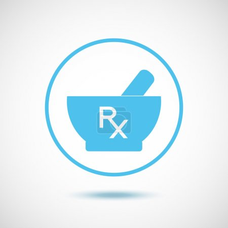 Illustration for Blue mortar and pestle in a circle and white Rx. - Royalty Free Image