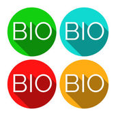Isolated BIO stickers in four colors BIO stickers with long shadows Green lifestyle stickers Flat style badges with text and long shadow Environmental theme