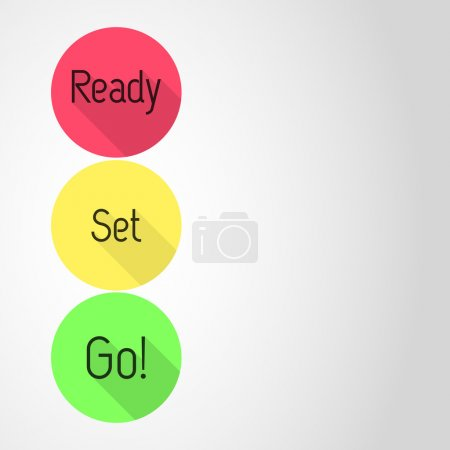 Ready - Set - Go! countdown. Three icons with Ready, Set and Go! in three colors. Empty template. Flat style vector illustration.