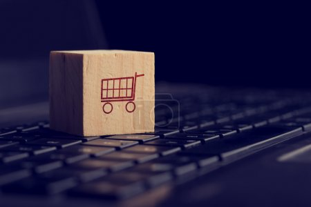 Online shopping and e-commerce background with a w...
