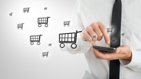 Man using a mobile to shop online