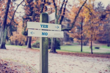 Rustic wooden sign with the words Yes - No