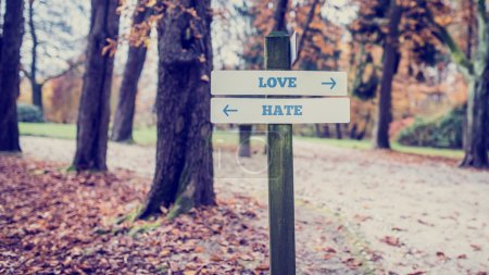 Rustic wooden sign with the words Love - Hate