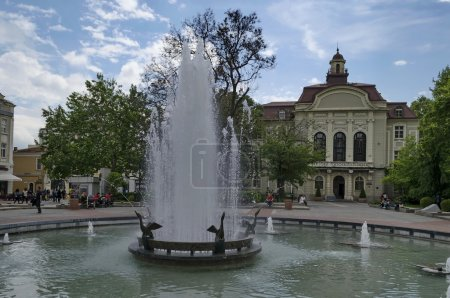 Fountain and old renovated building in Plovdiv