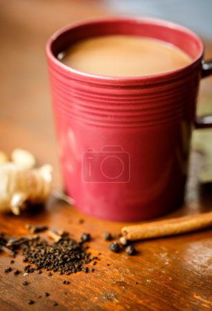 Masala tea with spices on the table