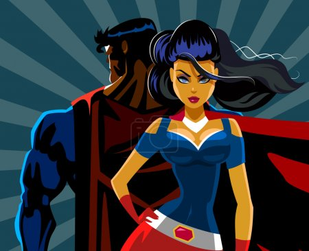 Superhero Couple: Male and female superheroes. Back to a back. P