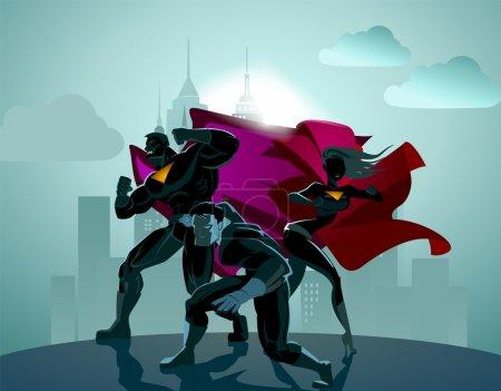 Superhero Team. Team of superheroes, flying and running in front