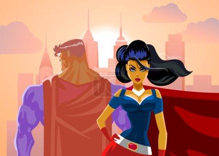 Superhero Couple: Male and female superheroes. Back to a back. P