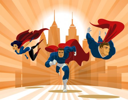 Superhero Team. Team of superheroes, flying and running in front