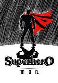 Superhero in rain: Superhero watching over the city Illustration