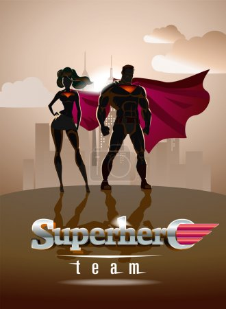 Poster. Superhero Couple: Male and female superheroes, posing in