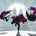 Superhero Team; Team of superheroes, flying and ru...