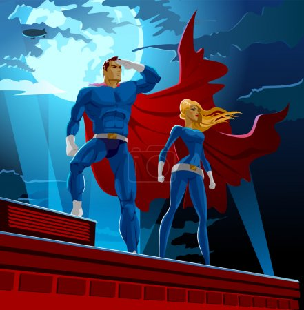 Superhero Couple. Male and female superheroes