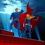 Superhero Couple. Male and female superheroes. Clo...