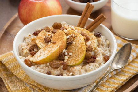 oatmeal with apples, raisins and cinnamon, top view, close-up
