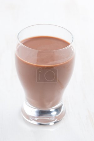 chocolate milk in a glass