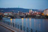 View of the bridges on cold spring or autumn morning, Prague, th