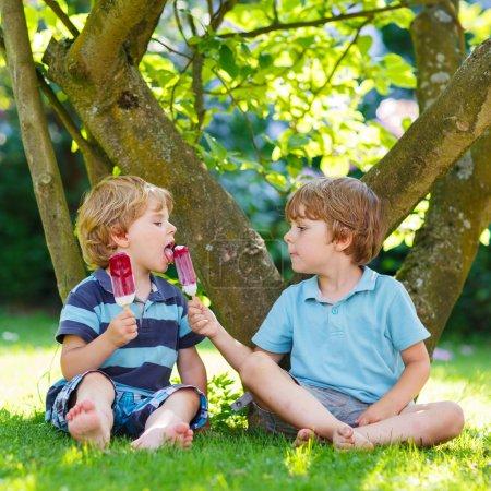 Photo pour Deux adorables petits frères enfants manger des glaces crème pop dans le jardin de la maison, à l'extérieur. nourrir les uns les autres. - image libre de droit