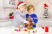 two little kid boys decorating Christmas tree