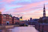 Sunset in Hamburg, German city. Speicherstadt district