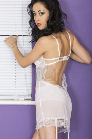 Sexy Young Woman Wearing White Camisole