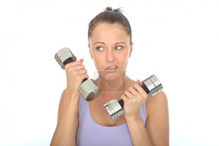 Photo pour Positive Successful And Healthy, Sportit Young Caucasian Woman, Fitness Training With Dumbbell Weights, Alone And Isolated On White, Looking Fed Up - image libre de droit