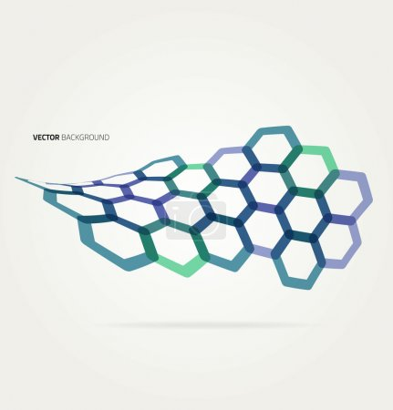 Illustration for Abstract color wave hexagons template. Vector illustration - Royalty Free Image