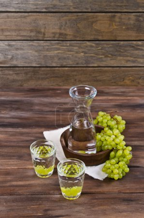 Transparent drink made from grapes