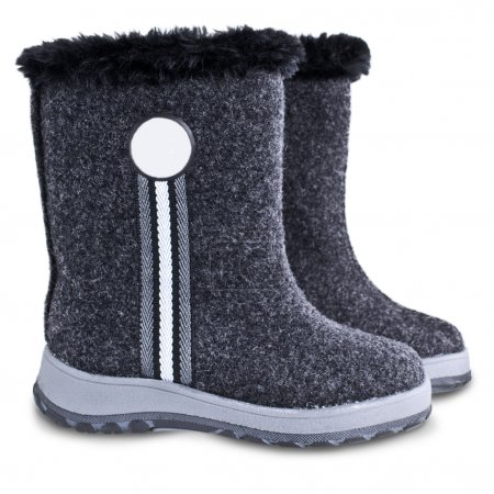 Photo for Kids winter felt boots grey color on a white background - Royalty Free Image