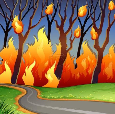 Illustration pour Scène désastreuse du feu de forêt illustration - image libre de droit