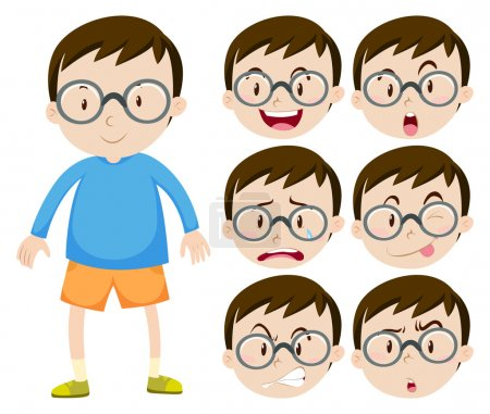 Illustration for Little boy with glasses and many facial expressions illustration - Royalty Free Image