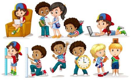 Illustration pour Illustration d'activités différentes pour garçons et filles - image libre de droit