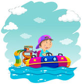 Boy riding on rubber boat at park illustration