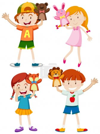 Illustration for Children playing with hand puppets illustration - Royalty Free Image